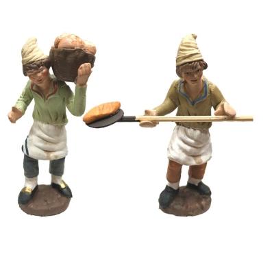 Panettieri che fanno il pane in terracotta 10 cm