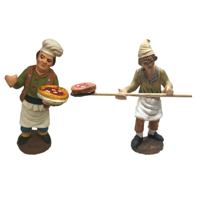 Pizzaioli a lavoro in terracotta 10 cm