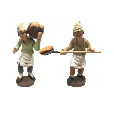 Panettieri che fanno il pane in terracotta 7 cm