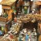 Presepe in sughero con luci e statuine in terracotta 30 cm