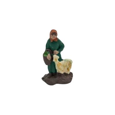 Donna con capra in terracotta 2 cm