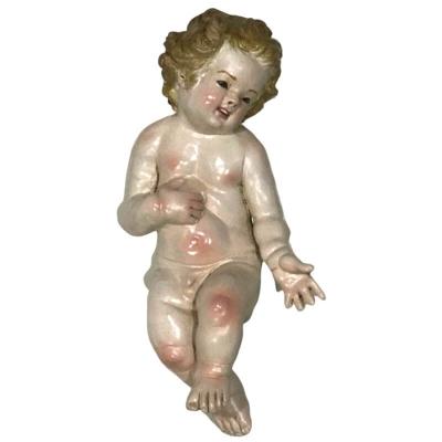 Gesù Bambino fatto a mano con occhi in vetro per pastori da 35 a 40 cm