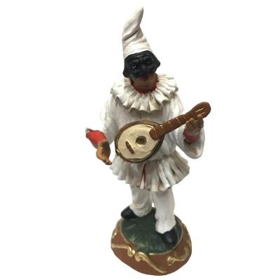 Pulcinella in terracotta con mandolino 15 cm