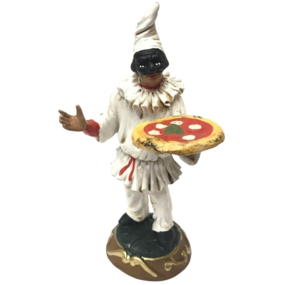 Pulcinella in terracotta con pizza 15 cm