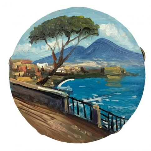 30 Tamburelli con dipinto strada e veduta Napoli misure miste