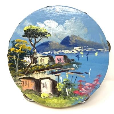 Tamburello in ecopelle dipinto veduta di Napoli 16 cm