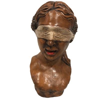 Dea Bendata busto antichizzata in ceramica 16 cm