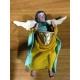 Angelo con tamburo d'oro vestito in stoffa 10 cm