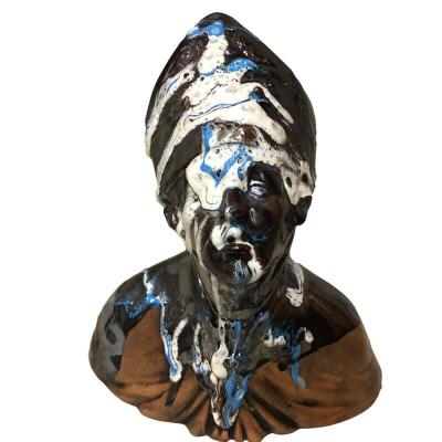 Busto di San Gennaro antico sfumato in ceramica 23 cm