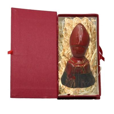 Busto San Gennaro rosso in terracotta in scatola da regalo 7 cm