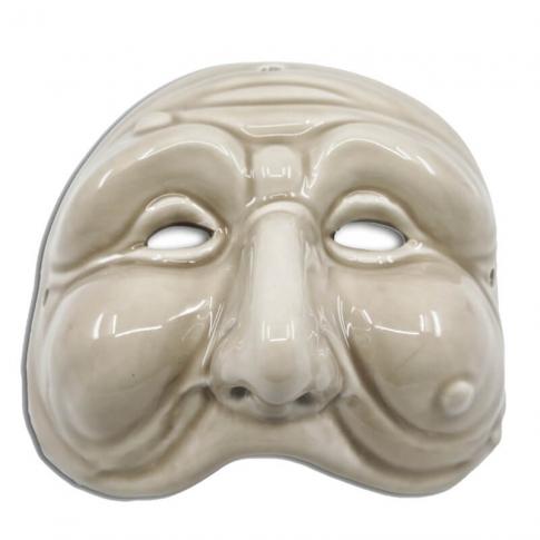 Maschera di Pulcinella bianco antico 13 cm