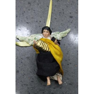 Angelo con fisarmonica vestito in stoffa 10 cm