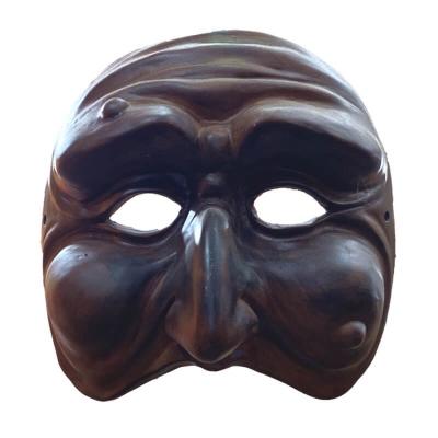 Maschera di Pulcinella marrone antico 25 cm