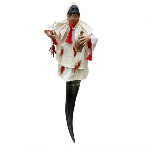 Pulcinella con vestiti di stoffa ed occhi in vetro 30 cm