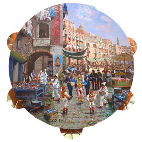 Tamburello in vera pelle con dipinto di Totò in strada a Napoli 55 cm