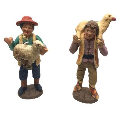 Pastori con pecore in terracotta 10 cm