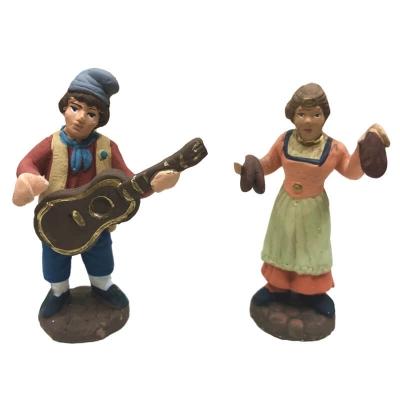 Coppia di suonatori in terracotta 7 cm