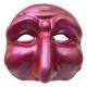 Maschera di Pulcinella fucsia metalizzato 13 cm