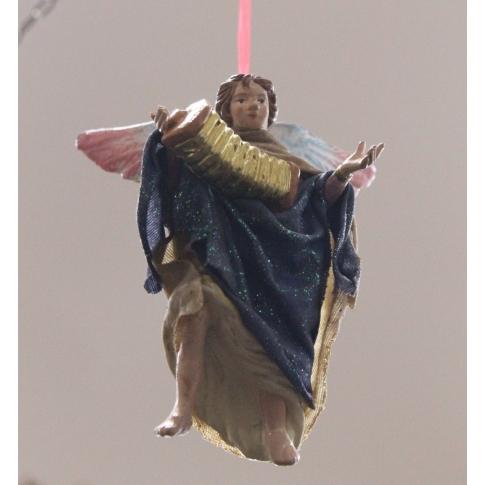 Angelo in terracotta con vestiti di stoffa 12 cm