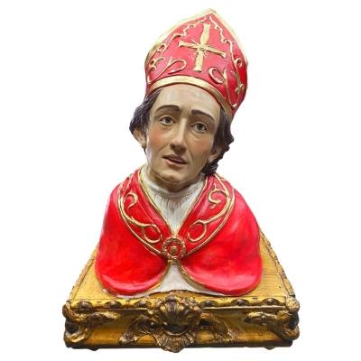 Busto di San Gennaro con occhi in vetro 40 cm