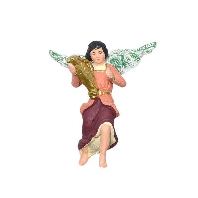 Angelo con arpa in terracotta 10 cm