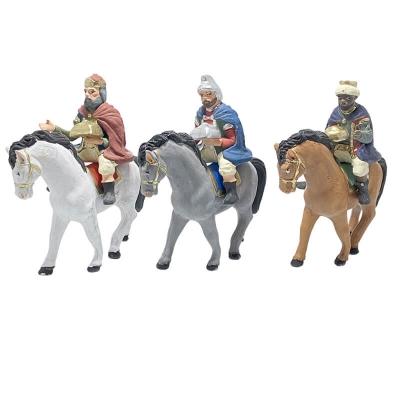 Re Magi a cavallo in terracotta 10 cm