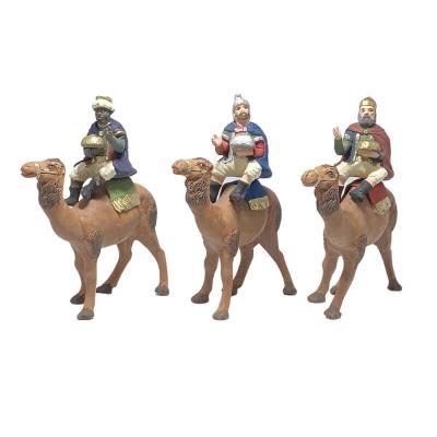 Re Magi a cammello in terracotta 10 cm