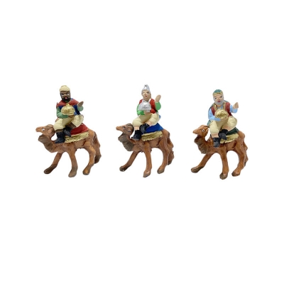 Re Magi a cammello in terracotta 4 cm
