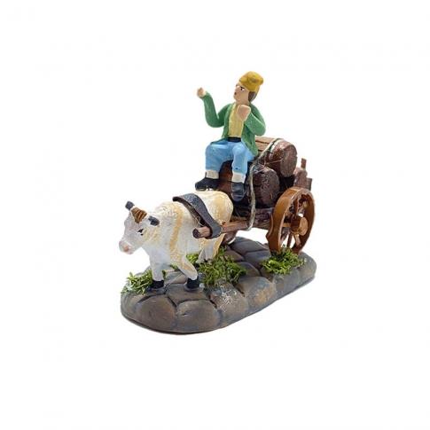 Zi Bacco con mucca al carretto che trasporta vino 4 cm