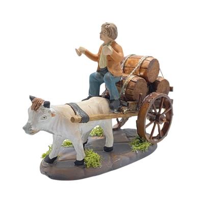 Zi bacco con mucca al carretto 7 cm
