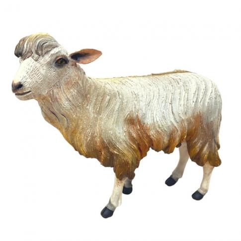 Pecora con testa alzata in terracotta con occhi di vetro