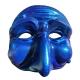 Maschera di Pulcinella blu spazio in terracotta 13 cm