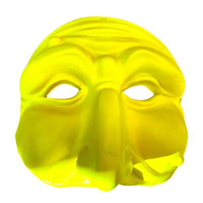 Maschera di Pulcinella giallo fluo in terracotta 13 cm