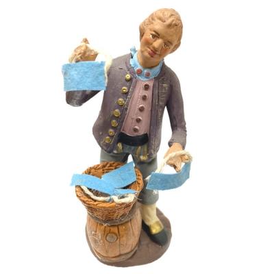 Statuina che vende le mascherine in terracotta 12 cm