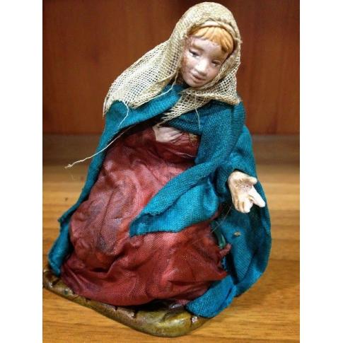 Madonna in terracotta con vestiti di stoffa 12 cm