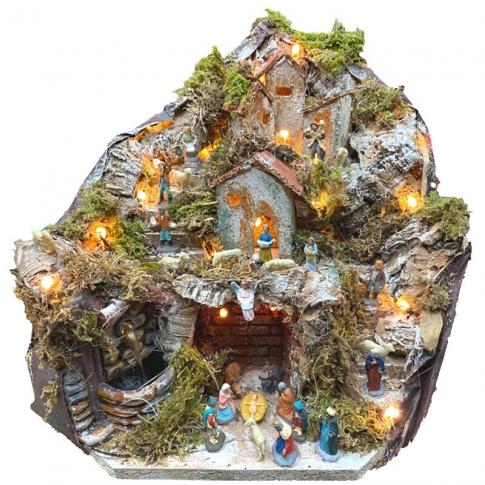 Presepe completo di luci, pastori e fontana in terracotta 27 cm