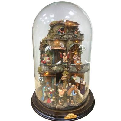 Presepe in campana 40 cm con luci e pastori 7 cm