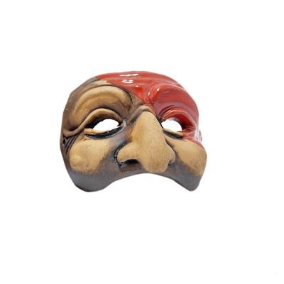 Maschera di Pulcinella stilizzata in terracotta 7 cm