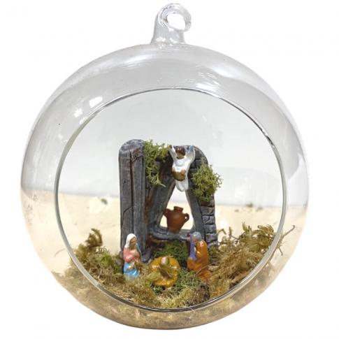Pallina di Natale in vetro soffiato con presepe all'interno 13 cm