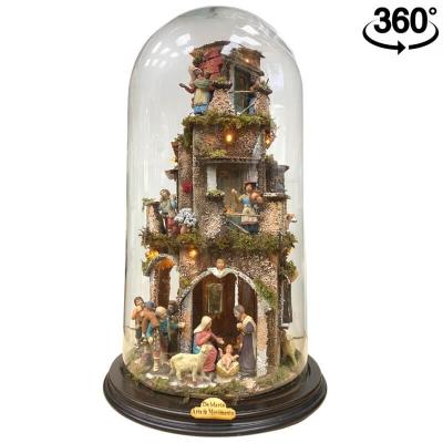 Presepe in campana 50 cm 360 °gradi con luci e pastori 7 cm stile 700