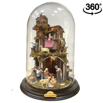 Presepe in campana 40 cm con luci e pastori 7 cm stile 700