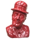 Busto Totò rosso in terracotta 20 cm
