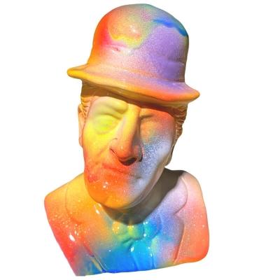 Busto Totò multicolore in terracotta 20 cm