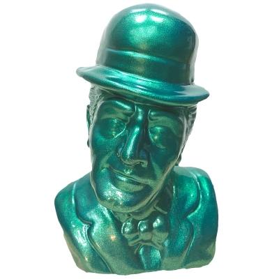 Busto Totò verde metalizzato in terracotta 20 cm
