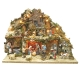 Presepe in sughero con fontana,luci e mulino 32-35 cm