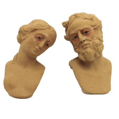 Teste di San Giuseppe e Madonna 25 cm con occhi in vetro