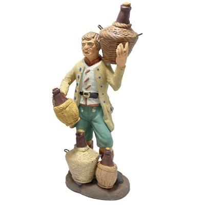 Uomo che vende vino in terracotta 15 cm