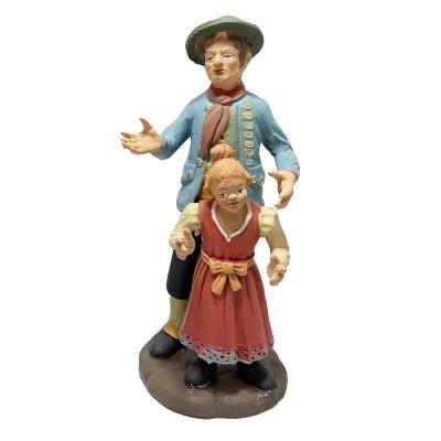 Padre con figlio in terracotta 15 cm