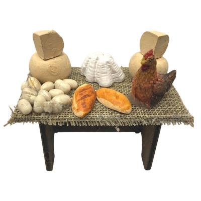 Banchetto con prodotti caseari per pastori da 10 cm