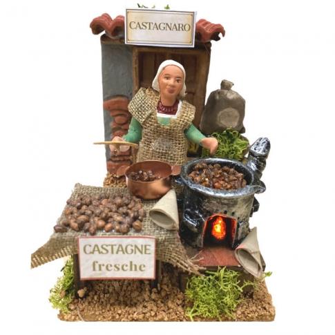 Bottega della Castagnara con luce fuoco 10 cm
